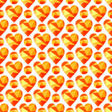 Vector seamless pattern with hearts. Polygonal design Royalty Free Stock Photo