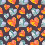 Vector seamless pattern with hearts. Polygonal design. Geometric triangular origami style, graphic illustration. Series of Love Seamless Patterns Royalty Free Stock Photo