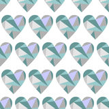 Vector seamless pattern with hearts. Polygonal design. Geometric triangular origami style, graphic illustration. Series of Love Seamless Patterns Royalty Free Stock Image