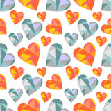 Vector seamless pattern with hearts. Polygonal design. Royalty Free Stock Photography
