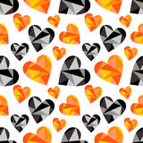 Vector seamless pattern with hearts. Polygonal design. Geometric triangular origami style, graphic illustration. Series of Love Seamless Patterns Royalty Free Stock Photography