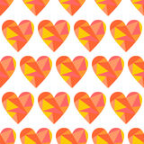 Vector seamless pattern with hearts. Polygonal design. Geometric triangular origami style, graphic illustration Royalty Free Stock Photography