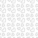 Vector seamless pattern with hearts. Repeating geometric tiles with stylized monochrome background stock illustration