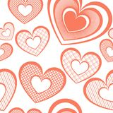 Vector Seamless Pattern with Hearts Stock Images