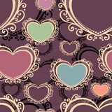 Vector Seamless Pattern with Hearts Royalty Free Stock Images