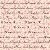Vector seamless pattern of hearts with the words Stock Photography