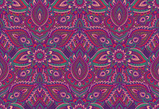 Vector seamless pattern with henna mehndi floral elements. Stock Photo