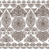 Vector seamless pattern with henna mehndi floral elements. Vector seamless pattern with hand drawn henna mehndi floral elements. Beautiful endless background in Stock Photo