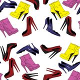 Vector seamless pattern with high heel shoes in different colors on a white background. Backdrop with women boots and shoes for an vector illustration
