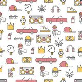Vector thin line art rap music seamless pattern royalty free illustration