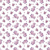 Vector seamless pattern with hippopotamus in Stock Photo