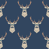Vector seamless pattern with hipster deer wearing mustaches. And glasses Stock Image