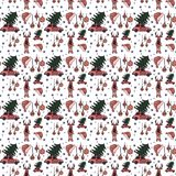 Vector seamless pattern with holiday elements and signs royalty free illustration
