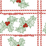 Vector seamless pattern with holly berry. Christmas doodle backg Stock Photos