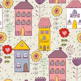 Vector seamless pattern. Seamless pattern with home and flowers. Art vector background vector illustration