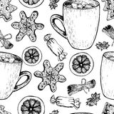 Vector seamless pattern of homemade gingerbread cookies and cocoa cup. Hand drawn vintage elements.Christmas decoration. Royalty Free Stock Image