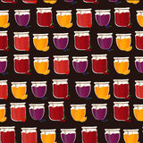 Vector seamless pattern with homemade jam. Friut confiture. Stock Images