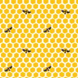 Vector seamless pattern of honeycombs and bees. Background design Royalty Free Stock Image
