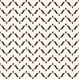 Vector seamless pattern, horizontal wavy lines, curved shapes, rhombuses. Simple monochrome black & white background. Abstract repeat texture. Modern design Royalty Free Stock Photography