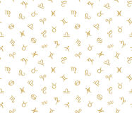 Vector Seamless pattern with horoscope zodiac signs. Golden hipster background Stock Photo