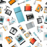 Vector seamless pattern with Household appliances. Blender and microwave, toaster and cooker, kettle and extractor illustration Royalty Free Stock Photo