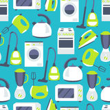 Vector seamless pattern of household appliances design flat Royalty Free Stock Photos