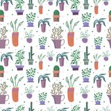 Vector seamless pattern with houseplants  in flower pots vector illustration