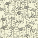 Vector seamless pattern with houses. Royalty Free Stock Image