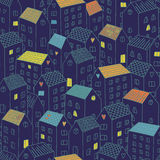 Vector seamless pattern with houses. Royalty Free Stock Photography