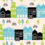 Vector seamless pattern with houses and buildings. Vector seamless pattern with house and building icons in  retro style Royalty Free Stock Photo