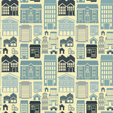 Vector seamless pattern with houses and buildings. Vector seamless pattern with houses and building icons in  flat retro style Royalty Free Stock Images