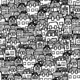 Vector seamless pattern - houses and real estate. Vector handdrawn set for your design: city houses and real estate, seamless pattern Royalty Free Stock Image