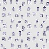 Vector seamless pattern - houses and real estate Royalty Free Stock Photo