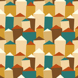 Vector seamless pattern with houses and roofs. Royalty Free Stock Photography