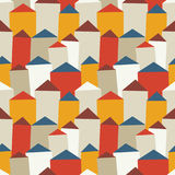 Vector seamless pattern with houses and roofs. Stock Photography