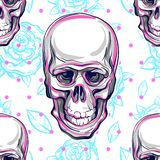 Vector seamless pattern of human skulls and roses. Magic symbol of sacred life and bitter truth. Mystic symbol. Anatomy. stock illustration
