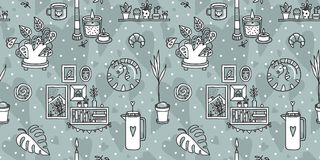 Vector seamless pattern with Hygge concept. Royalty Free Stock Image