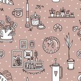 Vector seamless pattern with Hygge concept. stock images