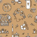 Vector seamless pattern with Hygge concept. royalty free stock photo