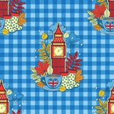 I love London and tea time. Design for background and wallpaper. Vector seamless pattern. I love London and tea time. Design for background and wallpaper stock illustration