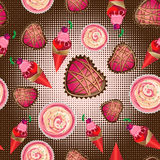 Vector seamless pattern of ice cream, cakes and pastries Royalty Free Stock Images