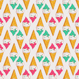 Vector seamless pattern with ice cream. Royalty Free Stock Images