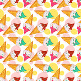 Vector seamless pattern with ice cream. Stock Photography