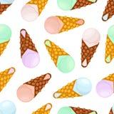 Vector seamless pattern of ice cream. Vanilla, sundae in belgian waffle. Cartoon flat style Stock Photo