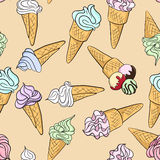 Vector seamless pattern with ice creams Stock Photography