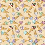 Vector seamless pattern with ice creams Royalty Free Stock Photo