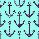 Vector seamless pattern with icons of anchor. Creative geometric blue grunge background, nautical theme. Stock Photos