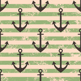 Vector seamless pattern with icons of anchor. Creative geometric green lined grunge background, nautical theme. Royalty Free Stock Photos