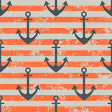 Vector seamless pattern with icons of anchor. Creative geometric red lined grunge background. Nautical theme. Texture with cracks, ambrosia, scratches Stock Photo
