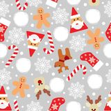 Vector seamless pattern with icons of Happy New Year and Christmas Day. Vector seamless flat pattern with icons of Happy New Year and Christmas Day vector illustration